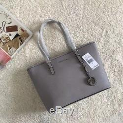 100% Michael Kors Jet Set Travel Saffiano Leather Top Zip Tote Grey Boxed