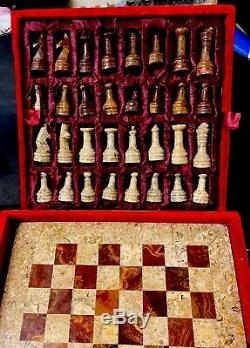 15 fossilstone & red marble luxury table top chess set plus board storage box