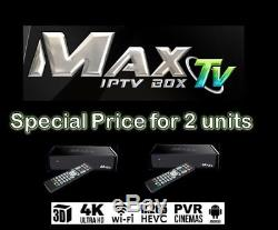 2 pack of 2018 MAXTV IPTV + ANDROID 7.1 WIFI PVR 2GB/8GB Quad Core 4K