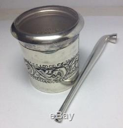 Antique Sterling Silver & Glass Top Nug Container & Smoking Pipe 420 Set