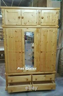 Assembled Solid Wardrobe Triple Topbox 4 Drawers Set Of 2 Antique Laquer