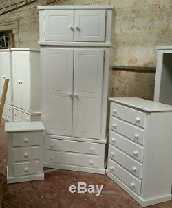 Berkshire (white) Bedroom Set Wardrobe With Top Box+ch Of 5 Dr+bedside Offer