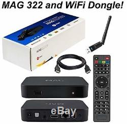 GENUINE MAG 322 IPTV Set-Top Box + 12 MONTHS Subscription + Wifi Dongle