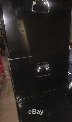 Halfords Industriial Tool Box Chest Set Black Roll Cab, Middle Box and Top Box