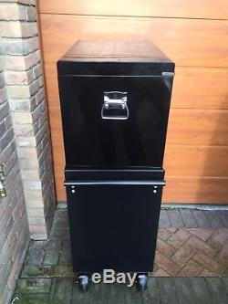 Halfords Industriial Tool Box Chest Set Black Roll Cabinet and Top Box