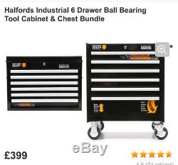 Halfords Industriial black Tool Box Chest Set Roll Cab and Top Box All 3 Items