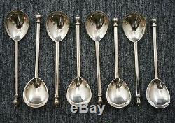 INDUSTRIA ARGENTINA Sterling Silver BALL TOP DEMITASSE SPOONS Boxed Set of 8