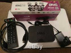 MAG 256 HEVC set top box with 12 month iptv subscription
