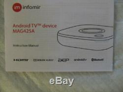 MAG 425A Android TV 4K HEVC INFOMIR WiFi capabilities with US Power Adapter