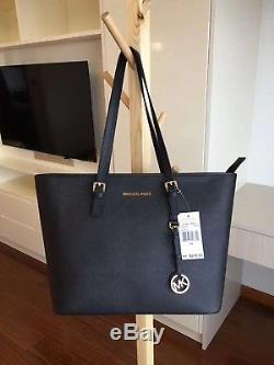 Michael Kors 100% Jet Set Travel Top Zip Tote LARGE Black Boxed
