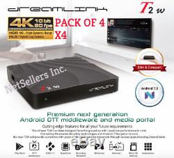 Package of 4 Dreamlink T2W IPTV Set Top Box & Smart TV Android 7 OS T2 W