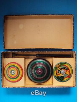 Rare TOP SPINNING tin toy GERMANY nuremberg MN set 1920 humming BOXED toupie OVP