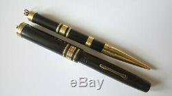 Swan Mabie Todd Ring Top Gold Bands Fountain Pen & Pencil Set Serviced Boxed
