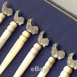 Vintage Boxed Set Of 6 Art Deco Mother of Pearl Cockerel Top Cocktail Sticks